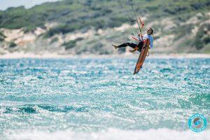Nicola Abadjiev competing at the GKA Kite-Surf World Tour in Tarifa