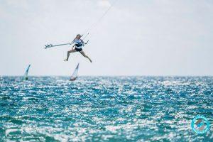 Female kitesurfer Carla Herreira Oria competing against the men