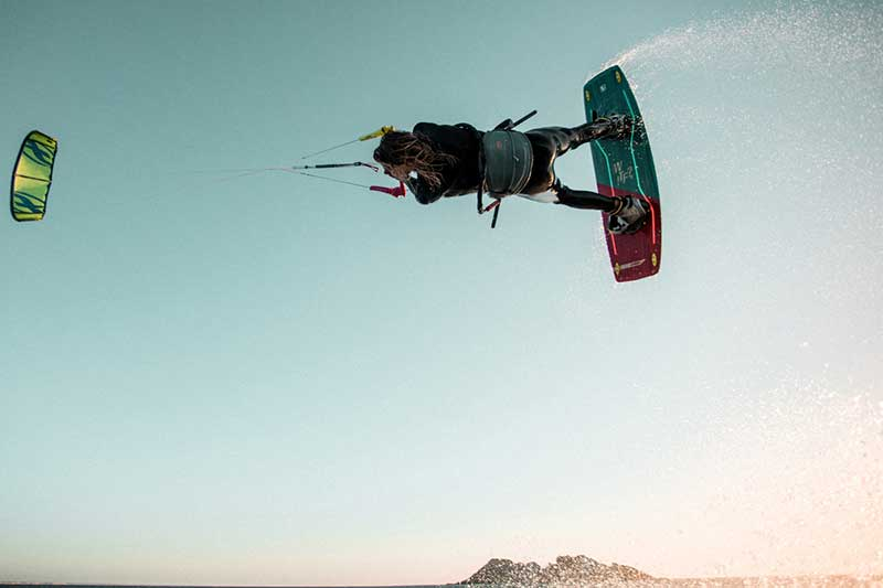 Liam Whaley kiteboarding action